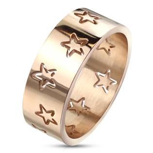 Ocelový prsten s hvězdami zlacený