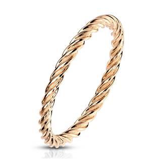 Zlacený ocelový prsten kroucený OPR1767