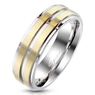 Zlacený ocelový prsten s pruhy, vel. 55