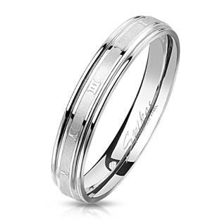 Ocelový prsten s římskými číslicemi, vel. 55