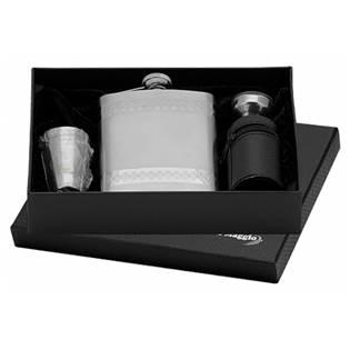 Ocelová kapesní lahev - placatka 220ml + 4 kalíšky 30ml a trychtýřek 97084