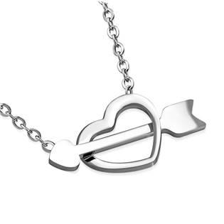 Ocelový náhrdelník prostřelené srdce