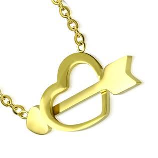 Zlacený ocelový náhrdelník prostřelené srdce