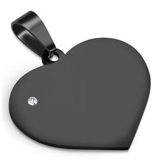 Černý ocelový přívěšek - srdíčko velké