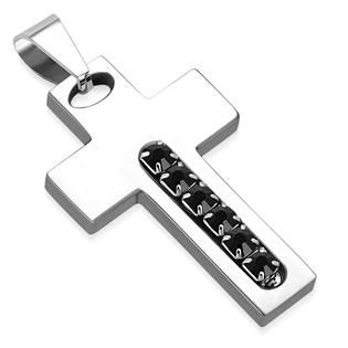 Ocelový přívěšek - kříž s černými zirkony