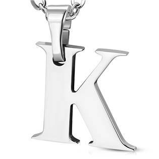 Ocelový přívěšek - iniciála K