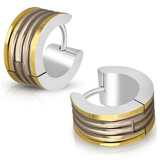 Zlacené ocelové náušnice kroužky OPN1027-GD