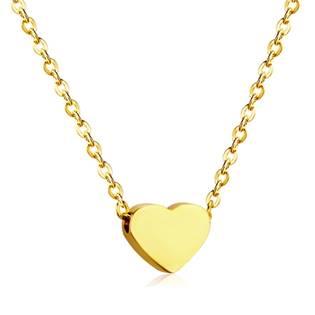 OPD0166-GD Zlacený ocelový řetízek s přívěškem srdce