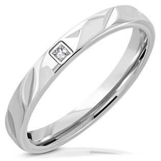 Snubní prsten ocel srdíčko, šíře 3 mm NSS3005-ZR