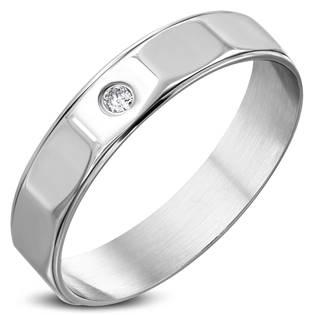 Ocelový prsten se zirkonem, vel. 63
