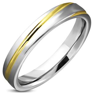 Matný ocelový prsten zlacený, šíře 4 mm, vel. 52