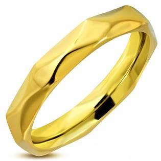 Ocelový prsten zlacený, šíře 4 mm, vel. 52