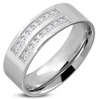 Ocelový prsten se zirkonem, vel. 60