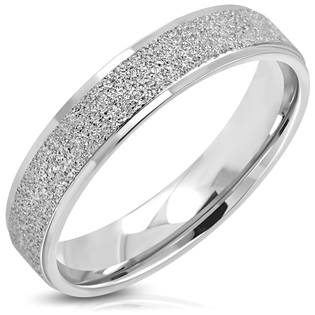 Pískovaný ocelový prsten, šíře 5 mm, vel. 52