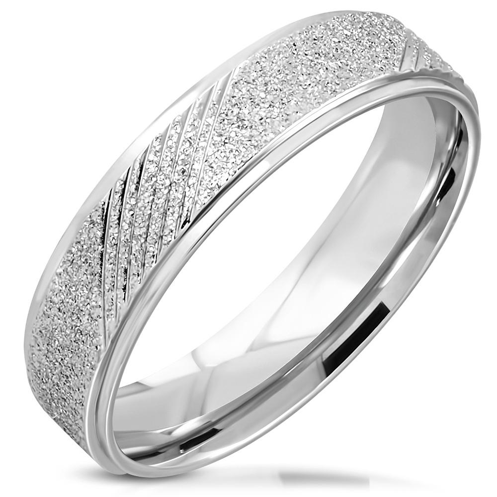 NSS3008 Dámsky snubný oceľový prsteň, šírka 6 mm