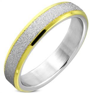 Pískovaný ocelový prsten, šíře 5 mm, vel. 51