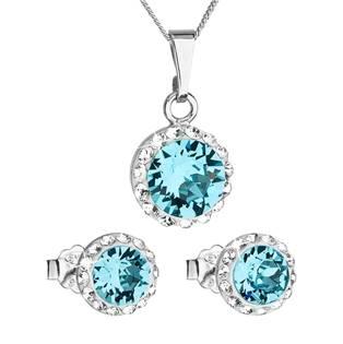 Sada náušnic a přívěšku s kamínky Crystals from Swarovski® Aquamarine