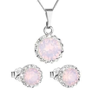 Sada náušnic a přívěšku s kamínky Crystals from Swarovski® Rose Opal