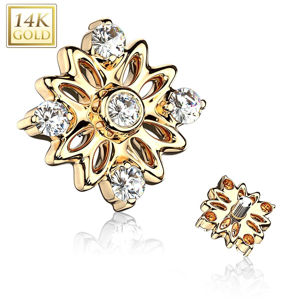 Zlatý piercing - mikrodermál, Au 585/1000 ZL01209-YG
