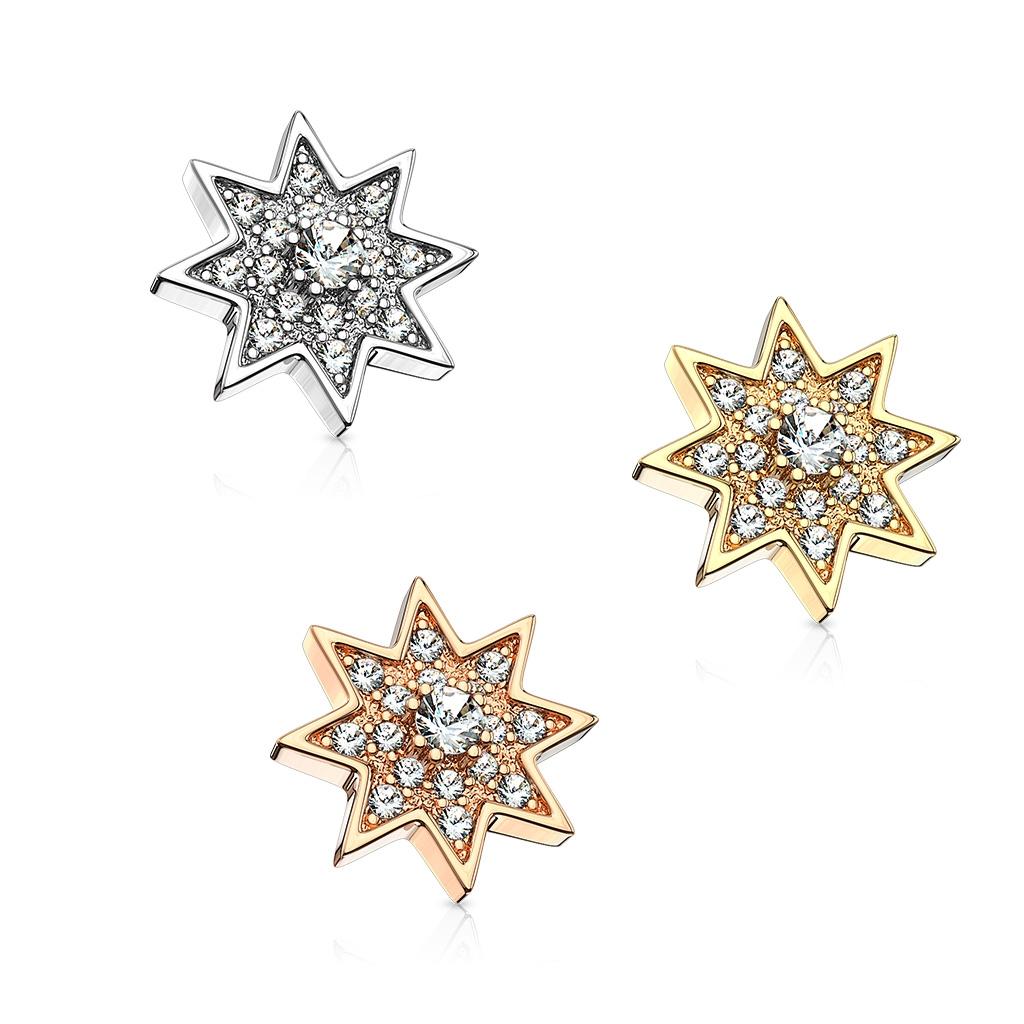 Microdermal hviezda - ozdobná časť, číre zirkóny