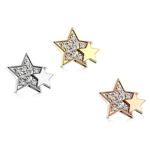 Microdermal s hviezdami - ozdobná časť