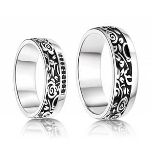 AN1043 Stříbrné snubní prsteny - pár