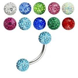Piercing do obočí - SWAROVSKI® elements, tyrkysové krystaly