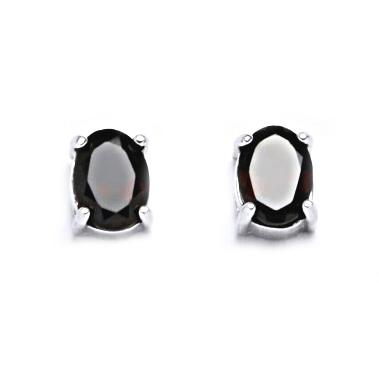 Stříbrné náušnice s granátem CS7020-GR