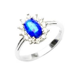 Stříbrný prsten s modrým opálem a zirkony