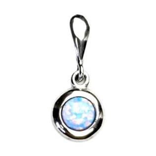 Stříbrný přívěšek se světle modrým opálem