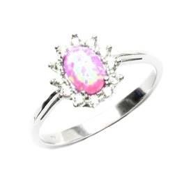 Stříbrný prsten s růžovým opálem a zirkony
