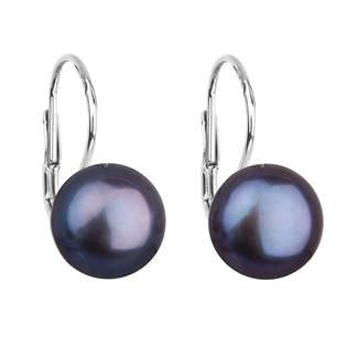 Stříbrné náušnice visací s modrou říční perlou