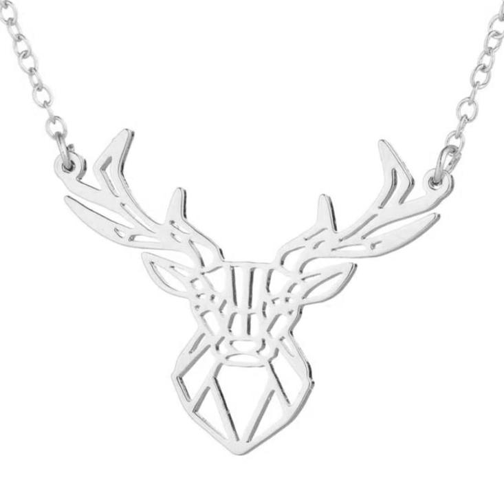 Postriebrený náhrdelník - jeleň