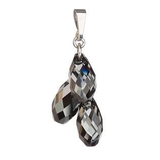 Stříbrný přívěšek kapka s krystaly Crystals from Swarovski® Silver Night