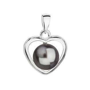 Stříbrný přívěsek srdce s perlou Crystals from Swarovski