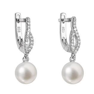 Stříbrné náušnice s říční perlou