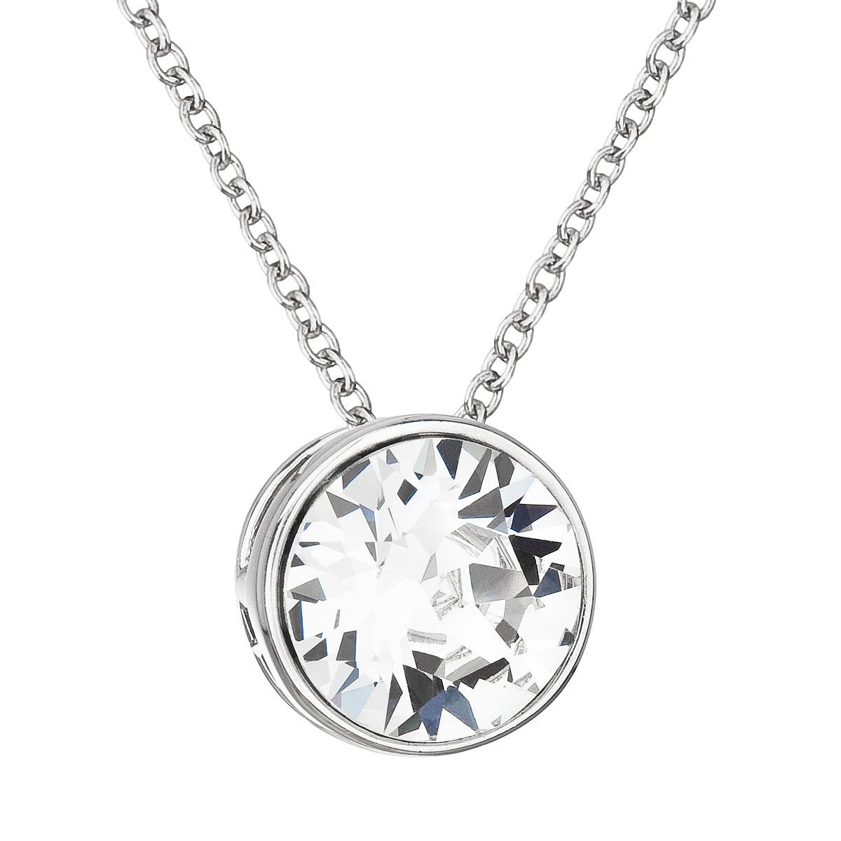 Stříbrný náhrdelník s kulatým kamenem Crystals from Swarovski EG4106-CR