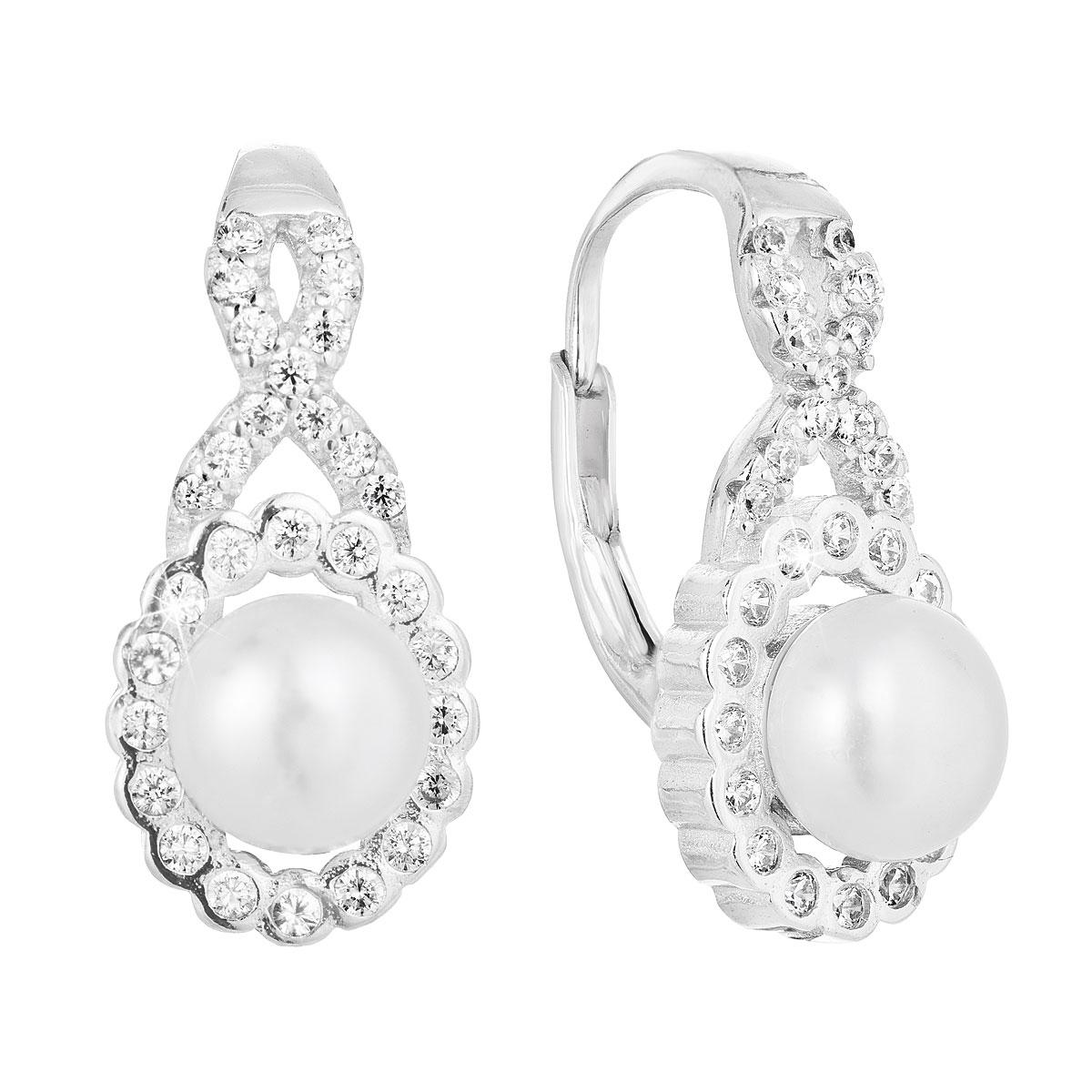 Strieborné náušnice s riečnou perlou