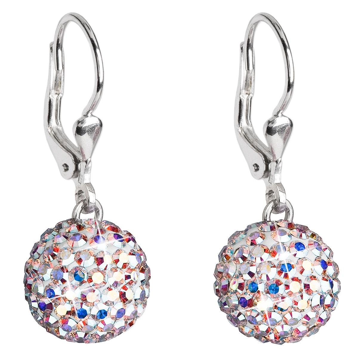Stříbrné náušnice kuličky s krystaly Crystals from Swarovski® AB EG2000-AB