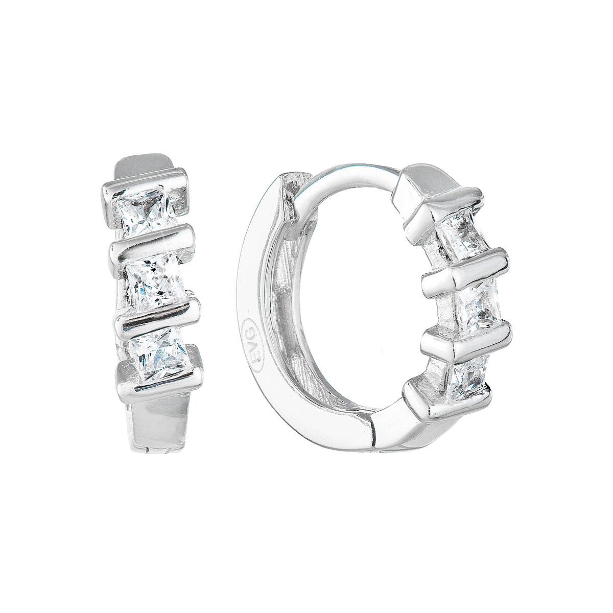 Stříbrné náušnice kruhy se zirkony EG2705