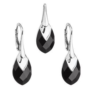 EVOLUTION GROUP CZ Souprava stříbrných šperků kameny s Crystals from Swarovski® JET - 39169.4 jet