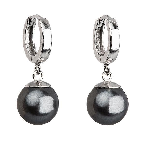 Stříbrné náušnice s perlou Crystals from Swarovski® Grey EG2071-GR
