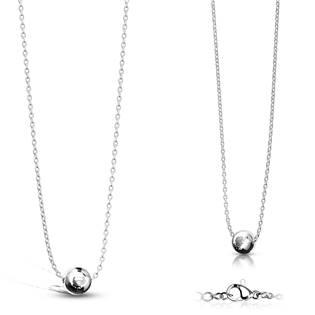 Ocelový náhrdelník s kuličkou