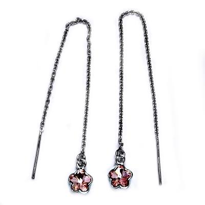 Stříbrné provlékací řetízkové náušnice Crystals from Swarovski kytička, LIGHT ROSE CS1300-LR