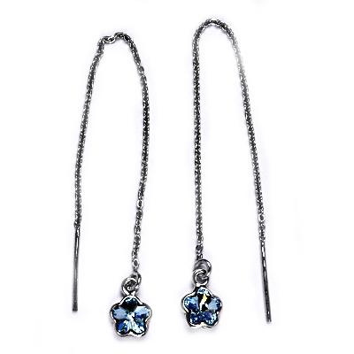 Stříbrné provlékací řetízkové náušnice kytičky, Crystals from Swarovski, AQUA CS1300-Q