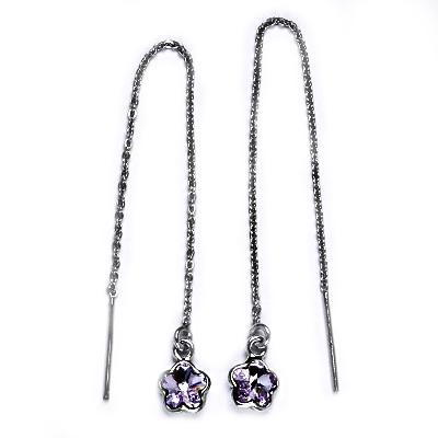 Stříbrné provlékací řetízkové náušnice kytičky, Crystals from Swarovski, VIOLET CS1300-VI