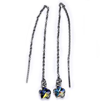 Stříbrné provlékací řetízkové náušnice kytičky, Crystals from Swarovski, AB CS1300-AB