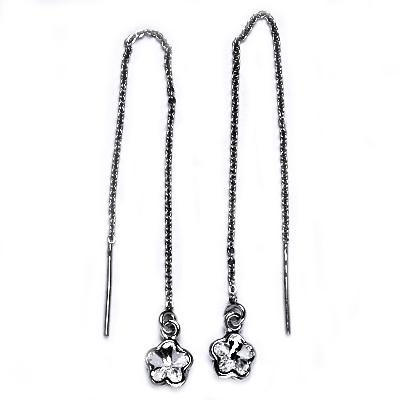 Stříbrné provlékací řetízkové náušnice kytičky, Crystals from Swarovski, CRYSTAL CS1300-C