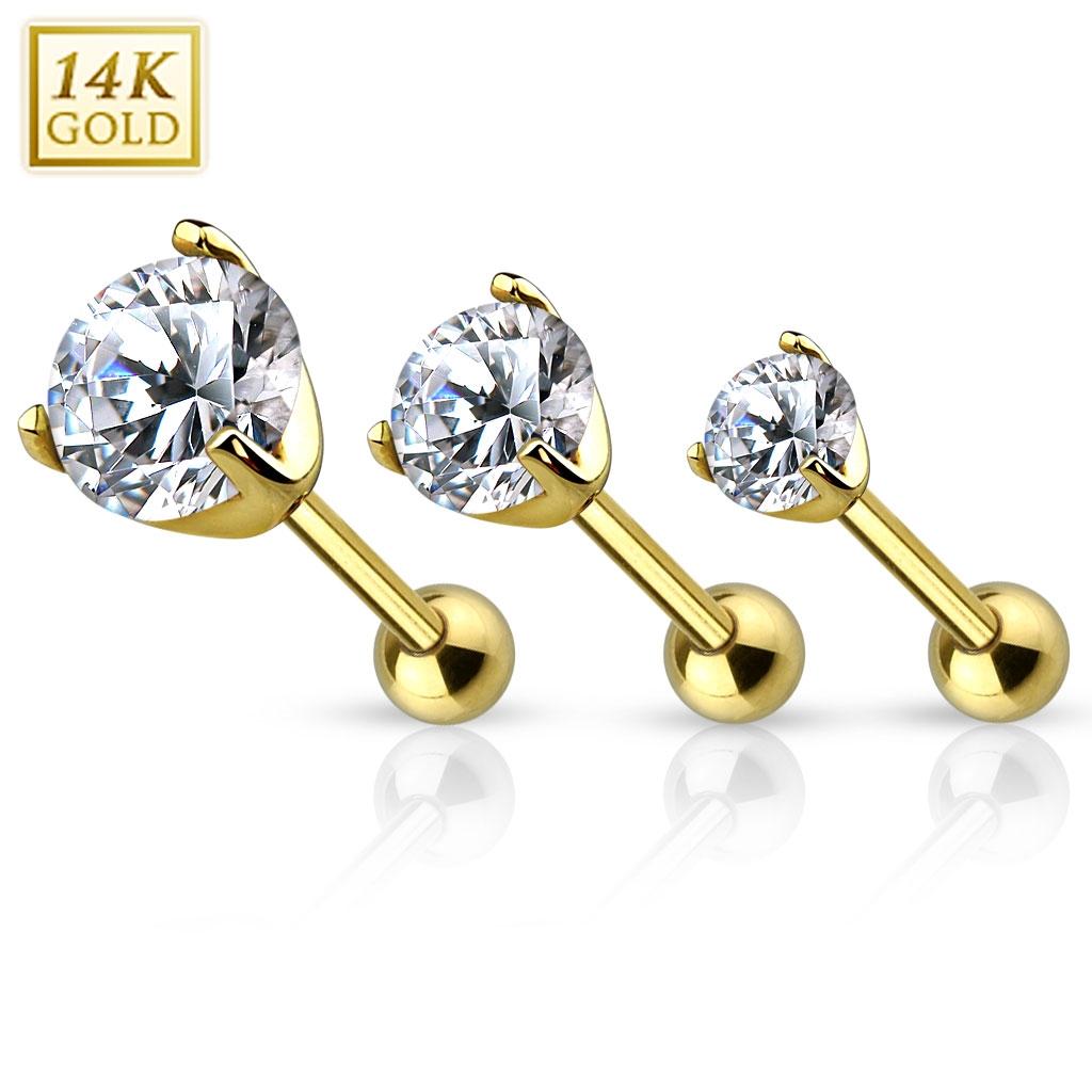 Zlatý cartilage piercing do ucha ZL01213-03-YG