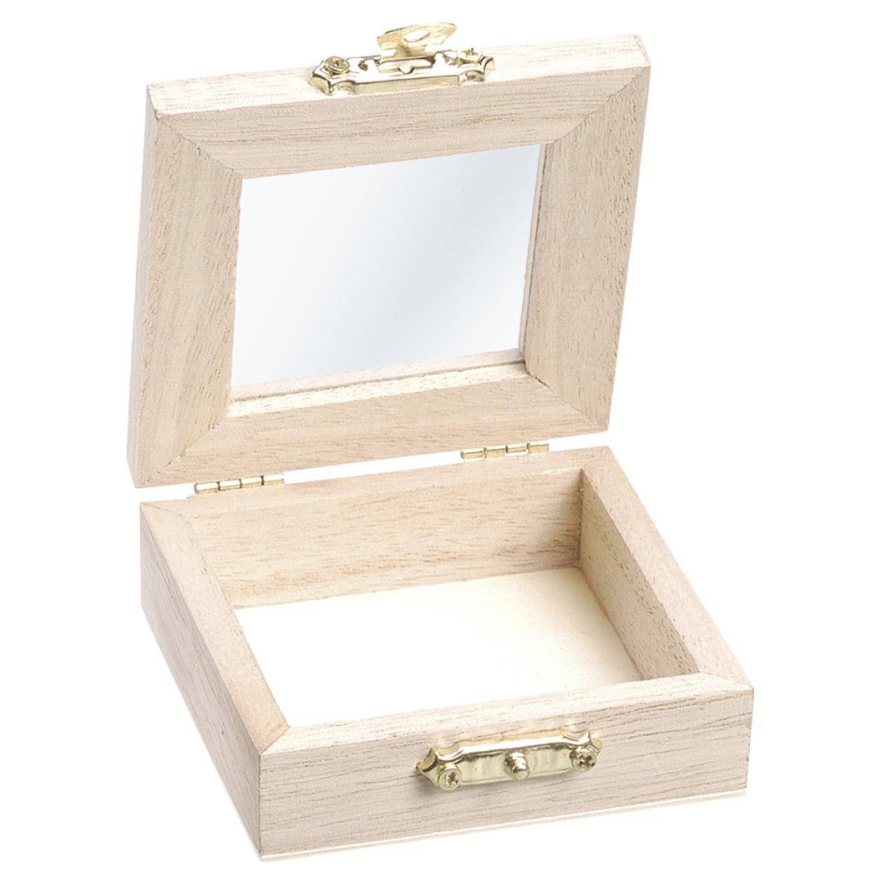 Malá drevená krabička s preskleným viečkom